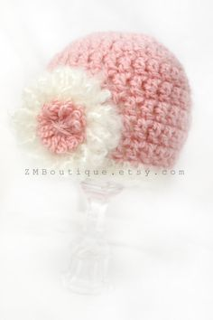 Newborn Baby Girl Crochet hat,soft chunky pink and white with flower hat,Newborn photo prop