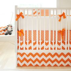 Polka dots with chevron. New Arrivals Fabric by the Yard Big Zig Zag Orange