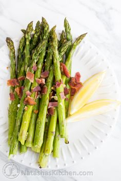Roasted Asparagus with Garlic and Bacon. Gluten free appetizer or side dish.