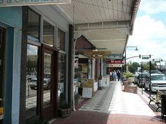 Little shops on Woodland Boulevard downtown DeLand, Florida