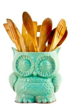Mint Owl Planter - Cute for plants or Cooking Utensils in the Kitchen