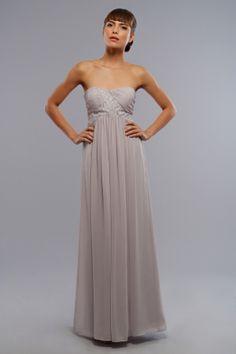Strapless chiffon dress with empire