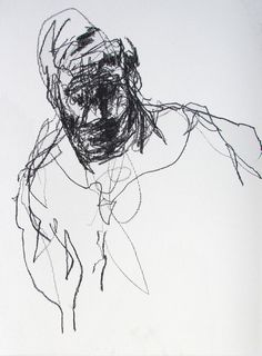 figure drawing - from life - Drawing 54 - conte on paper - original drawing by Derek Overfield