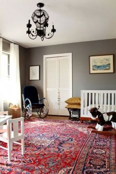 nursery colors, wall colors, grey walls, nurseries, rocking chairs, gray walls, paint colors, oriental rugs, white furniture