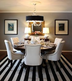 dining rooms, dine room, color, chairs, black white, stripes, rugs, round tables, dining tables