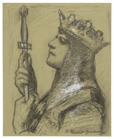 "Francis Ernest Jackson. A special study of Mr. Lewis Waller as ""King Henry V"" at the Imperial. Drawing, 1904 or 1905. Folger Shakespeare Library."