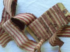 Two Yards Primitive Americana Red Ticking Ribbon by alexandrarosie, $1.50