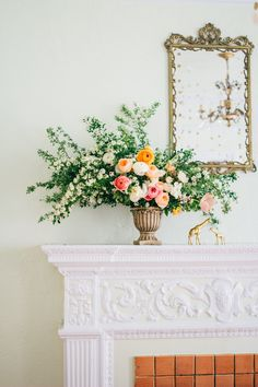 Read More: http://www.stylemepretty.com/living/2014/07/03/gold-dotted-floral-baby-shower/