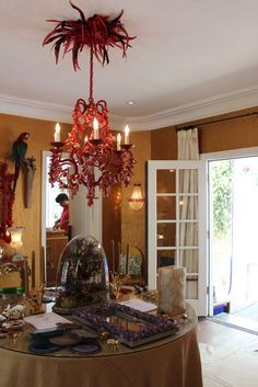coral chandelier in the home of marjorie skouras