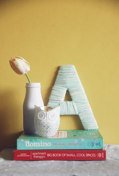 Really spell it out with a yarn-wrapped monogram #DIY!