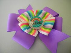 Dream Hair Bow with bottle cap center by ang744 on Etsy, $5.00