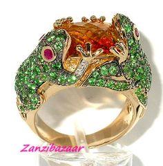 Citrine Tsavorite Frog Ring