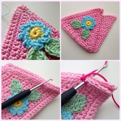 Crochet triangles with flowers, free pattern and picture tutorial - could be a blanket, could be bunting / banners ✿Teresa Restegui http://www.pinterest.com/teretegui/✿
