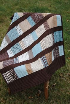 Strip quilt with straight line quilting