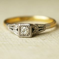 Art Deco Diamond Wedding Ring, Vintage Platinum 18k Gold Engagement Ring 1930's US 4.5