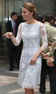 Kate Middleton in a Temperley London's Aster Flower dress in icy blue at the Diamond Jubilee tea party in Kuala Lumpur.