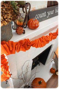 fall decorating with the fireplace