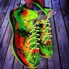 "2013 Nike LeBron 10 ""Highlighter"" Joe Haden Custom X Sneaker"