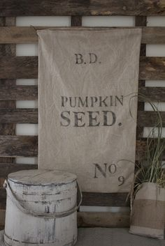 Pumpkin Seed print on Linen or grain sack...