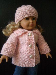 "very EASY Knitting PATTERN 18"" doll set"