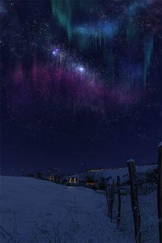 sky, digital paintings, winter, northern lights, aurora borealis, star, homes, place, bucket lists