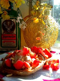 //Strawberry and Almond Waffles//