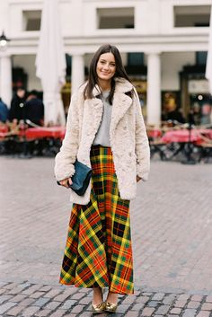 Long plaid skirt- maybe minus the faux fur though.London Fashion Week AW 2013....Chloe