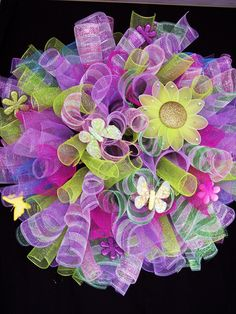 Spring Easter Spiral Deco Mesh Wreath.