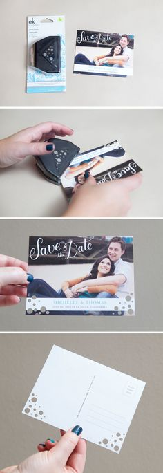 Easily Embellished corner punches on Wedding Paper Divas Save the Date postcard