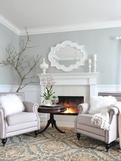 mirror, wall colors, living rooms, fireplac, master bedrooms, paint colors, grey paint, live room, benjamin moore