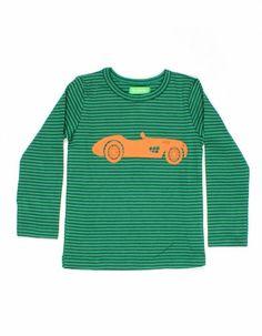 Groen gestreept Mila longsleeve shirt met oranje auto - Lily-Balou