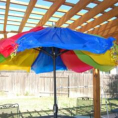 Turned the patio umbrella into a Big Top for Ben's birthday party using plastic table cloths and curling ribbon. Total cost $12 and super-easy!