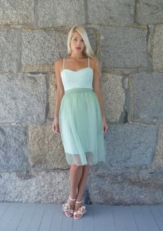 Anouk: Sweetheart bridesmaid mint green sea foam silk and tulle dress with sash on Etsy, $268.00
