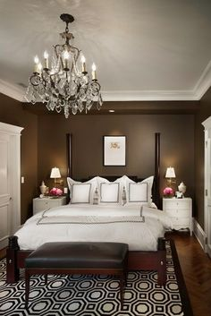 Chocolate brown and white bedroom..lovely