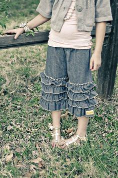 Yeleda Vintage look Ruffled Heart pants capri Jeans
