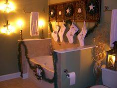 holiday bath, christma bathroom, holiday decor, coastal christmas