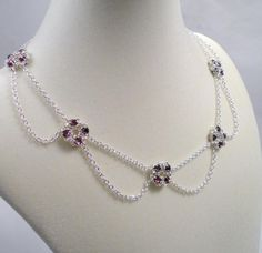 chain maille free, flower drape, amethyst swarovski, swarovski crystals, flowers, crystal flower, flower patterns, chainmaill, drape necklac