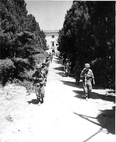 US Army Japanese-American troops on the move in Castellina Sector at Livorno, Italy, 15 Jul 1944 (Hawaii War Records Depository)