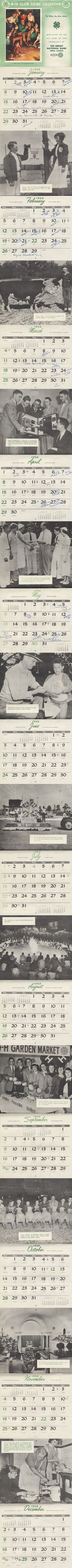 Full Historic 1952 4-H Calendar cooper extens, friday child, 4h throwback, 100 year, vintag fun, throwback photo