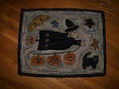 """My """"Flying Witch"""" Hooked Rug.    http://hookedonprimitives.blogspot.com/ rug hook, hook rug, craft hook, happi hook"""