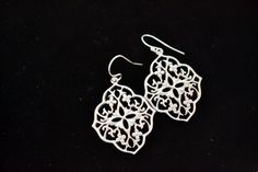 Silver Floral Chandelier Earring Silver by FrenchRobinDesigns, $29.50
