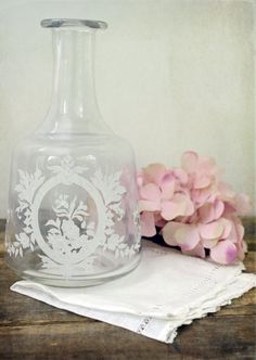 Vintage Etched Glass Bottle SOLD #glass #etched #vintage #white #bottle