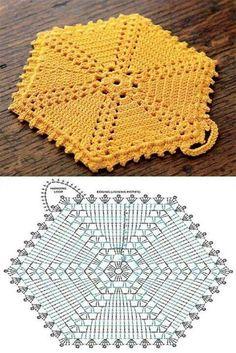 Hexagon groß häkeln - crochet      ♪ ♪ ... #inspiration #crochet  #knit #diy GB  http://www.pinterest.com/gigibrazil/boards/