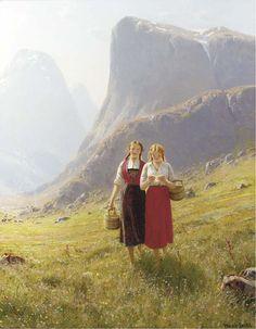 Landscape Painting by Norwegian Artist Hans Dahl...The Love Letter