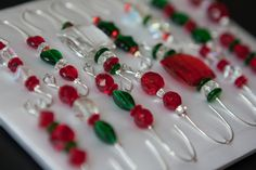 Beaded+Christmas+Ornament+Hook+Hangers+Box+of+14+Red+by+JustHangOn,+$15.95