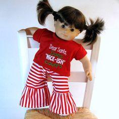 Bitty Baby Twin Dear Santa Tee Shirt, Ruffle Pants - American Girl Doll Clothes Christmas Outfit. $24.00, via Etsy.