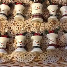 Wooden spool snowmen ornaments
