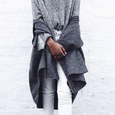 cozy greys and white denim #style #fashion