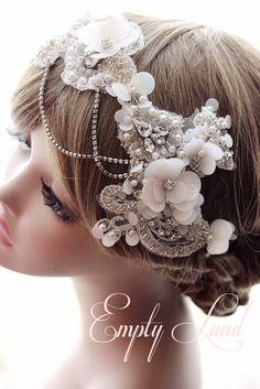 free shipping Handmade Original design women fashion bride hair bands accessories crystal flowers birthday gift wedding photography props. $54.90, via Etsy.
