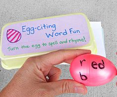 """Egg-cellent Reading Game: """"We always have extra plastic Easter eggs lying around, so my 11-year-old created a spelling game with them. She writes different common word endings, such as """"at"""" or """"ed,"""" on one half of each egg and different consonants on the other side. My 6-year-old twists the eggs to make new words and to practice reading."""" --Kindra Gordon Whitewood, SD    Originally published in the March 2013 issue of FamilyFun"""